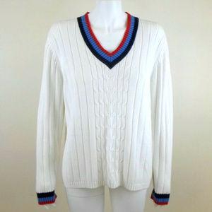 Karen Scott Cable Knit V-Neck Tennis Sweater